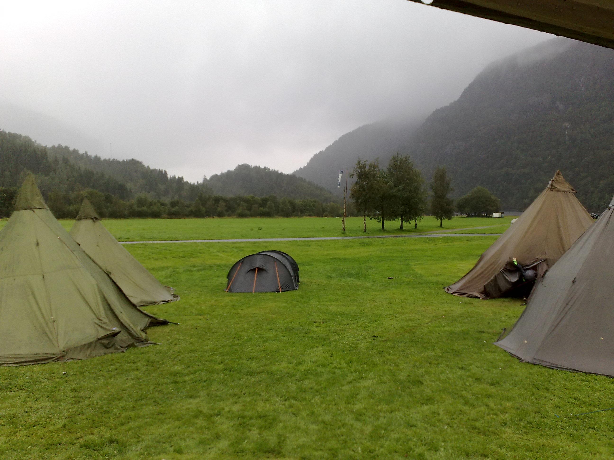 Our camp before glacier tomorrow|Leiren vår før Folgefonn i morgen